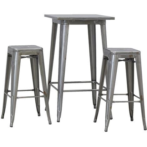 Ensemble table haute et tabourets en acier brossé