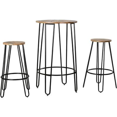 Ensemble table haute et tabourets en métal et bois d'orme huilé