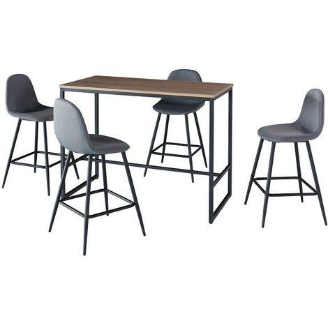 Ensemble table haute (mange debout, bar) + 4 chaises hautes MENTON. Un espace repas pratique et design.
