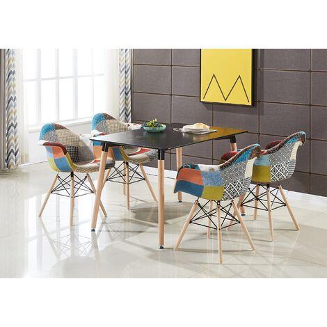 Ensemble Table Noire + 4 Chaises avec Accoudoirs en Tissu Patchwork - Design Scandinave