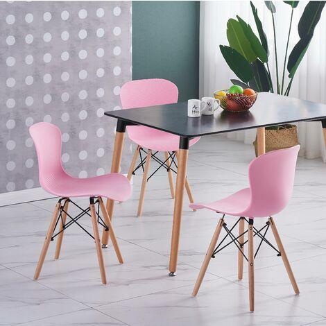 Ensemble Table Noire + 4 Chaises Roses - Style Scandinave & Contemporain - Salle à Manger ou Cuisine