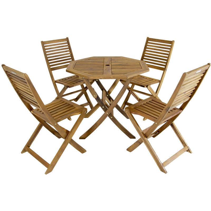 Ensemble table octogonale + 4 chaises - bois dur certifié FSC - jardin
