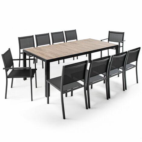 """main image of """"Ensemble table rectangulaire (206 x 100 x 74,5 cm) avec 8 chaises et 2 fauteuils Tivoli - gris - Gris"""""""