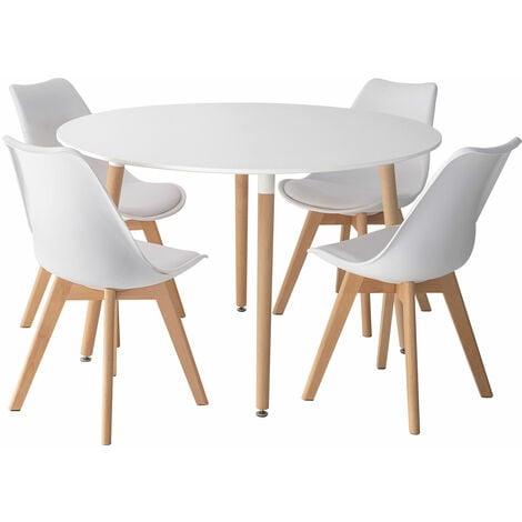 "main image of ""Ensemble table ronde 120cm MARTHA et 4 chaises NORA blanc - Blanc"""