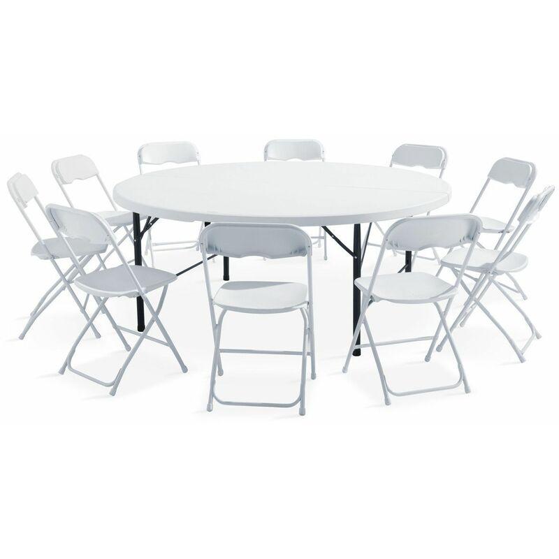 Table Ronde 8 Personnes.Ensemble Table Ronde Et Chaises Pliantes 8 Personnes