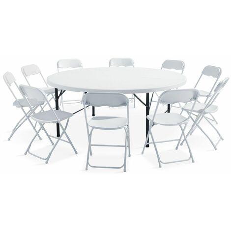 Ensemble table ronde et chaises pliantes 8 personnes