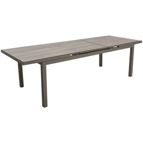 Ensemble table TERAMO 180/235 cm café/cédar - plateau Trespa + 6 chaises PALMA café/taupe mat