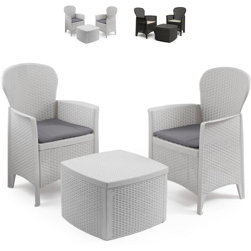 Salon de jardin extérieur 2 fauteuils coussins table rotin Tree   Blanc - Progarden
