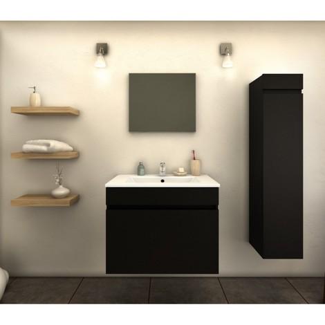 Meuble de salle de bain simple vasque 60 cm + 1 colonne Noir Mat ...