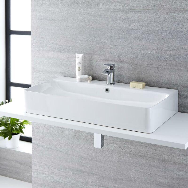 Vasque /à poser ou lavabo /à suspendre PB2144 en solid surface Solid Stone - blanc mat 100 x 42 x 10 cm