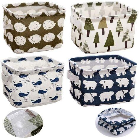 Ensembles de rangement pour linge de maison (baleine, ours polaire, hérisson, arbres) Petit organisateur de boîte de rangement en tissu pour bébé avec 2 poignées sur les deux