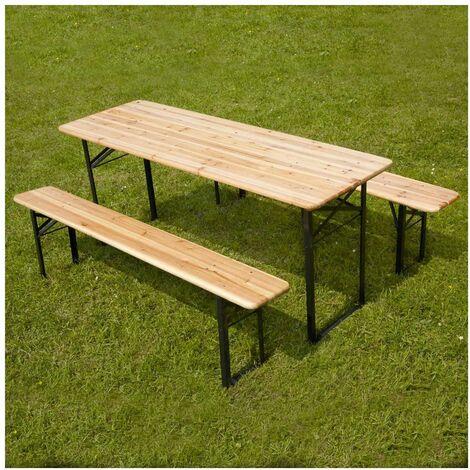 Ensembles table et bancs brasserie pique-nique en bois 8 places - Lot de 5