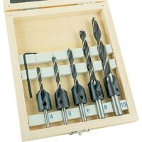 ENT 6-tlg. Bohrer-Senker-Satz WS - 5 zylindrische Spiralbohrer + Werkzeug