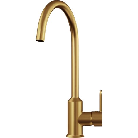 Entice Kitchen Sink Mixer with Swivel Spout & Single Lever - Brushed Gold Finish