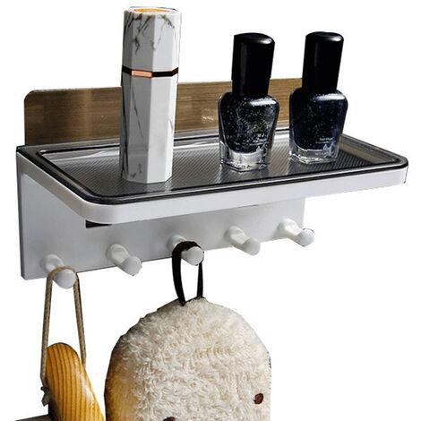 Entrada estante de la pared con ganchos de montaje en pared que cuelga del estante ninguna perforacion gancho de almacenamiento en rack cesta cocina para guardar estantes de ducha Organizador, Negro