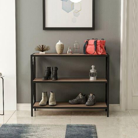 Entrance Cabinet Door Shoes - with Shelves, Shelves - Living Room - Walnut, Black Wooden, Metal, 94 x 35 x 75 cm