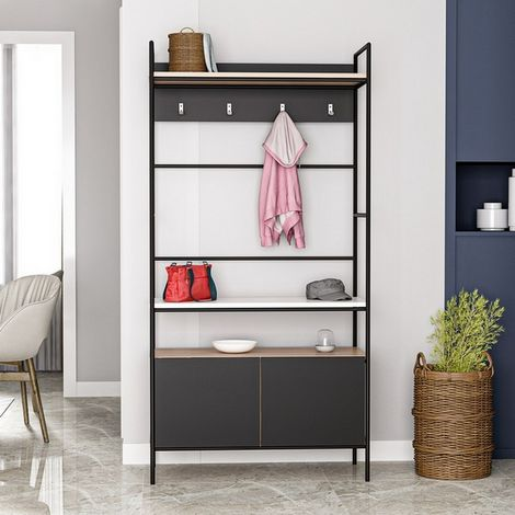 Entrance Cabinet Mose - Coat Stand - with Hooks, Shelves, Shelves - Black, Wood, Metal, 90 x 39 x 179 cm