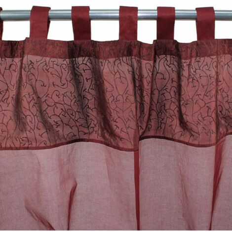 ENTRELACE - Rideau à pattes en fausse soie rouge 110x250 - Rouge