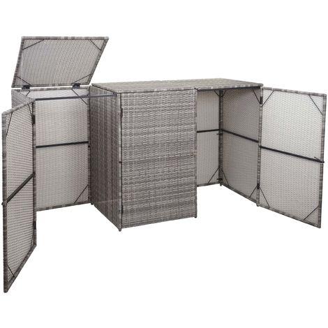 Enveloppement pour 3 poubelles HHG-261, box pour poubelles, revêtement, polyrotin 2x120l