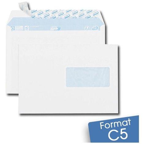 Lot de 100 Enveloppes blanches C5 auto-adhésives à FENÊTRE