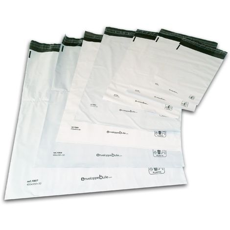 Enveloppes plastiques blanches opaques FB02 - 225x325 mm