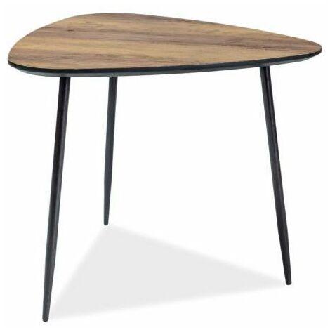 ENVUO - Table basse triangulaire style industriel - 48x58x57 cm - Plateau MDF laminé - Pieds métal - Table à café - Noir