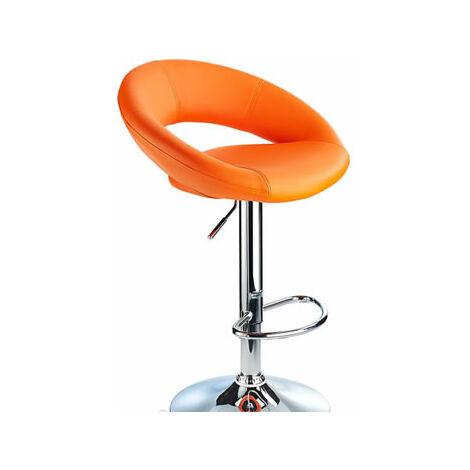 Envy Orange Breakfast Bar Stool Curvy Height Adjustable