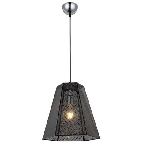 Enya Hanging Lamp - Chandelier - Ceiling Lamp - Chrome, Black made of Metal, 30 x 30 x 97 cm, 1 x E27, 40W
