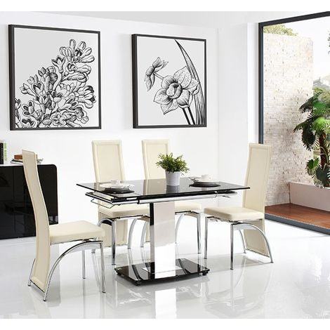 Enzo 80-120cm Extending Glass Dining Table with 4 Alisa Dining Chairs [Ivory]