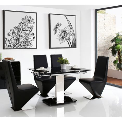 Enzo 80-120cm Extending Glass Dining Table with 6 Rita Designer Dining Chairs [Black]