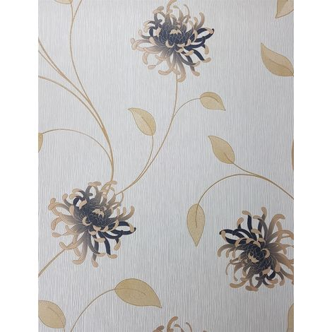 Enzo Floral Cream/ Gold Wallpaper