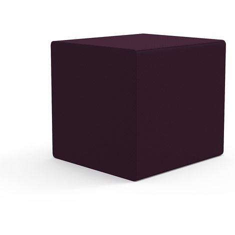 EOL | Pouf carré - 40 x 40 cm | Patins ABS, système d'accrochage intégré | Aubergine