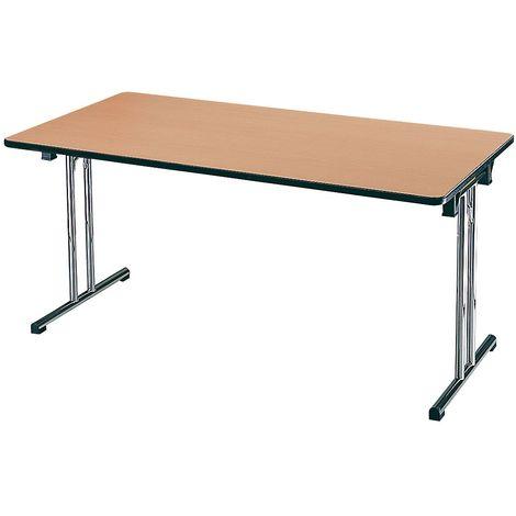 EOL | Table pliante L. 140 x P. 70 cm |plateaux Hêtre de Honfleur | Piétements Chromé - Finition hêtre café brun