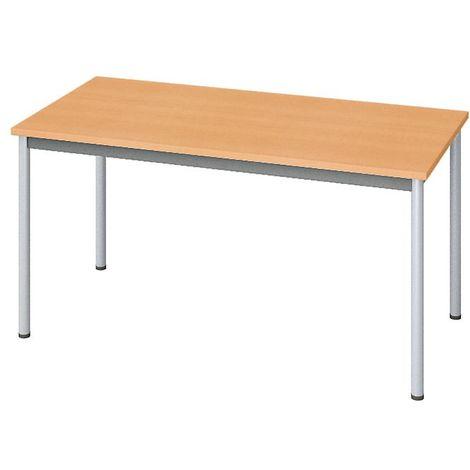 EOL | Table rectangulaire polyvalente L. 120 x P. 60 cm |plateaux Hêtre de Honfleur | Piétements Gris aluminium - Finition hêtre café brun
