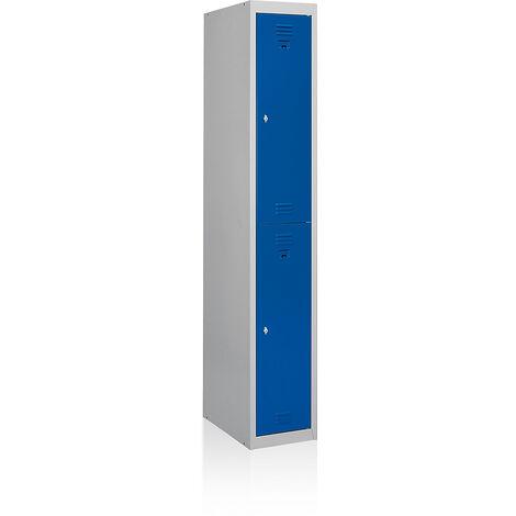 EOL | Vestiaire 2 cases | Vestiaire de base | Gris clair | Portes bleues