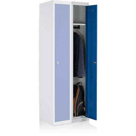 EOL   Vestiaire métallique   Vestiaire additionnel   Gris clair   Portes bleues - Gris clair