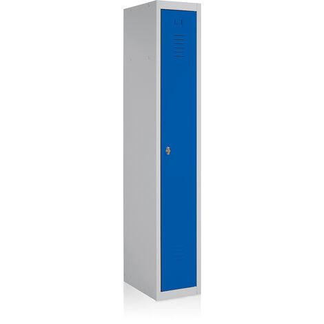 EOL | Vestiaire métallique | Vestiaire de base | Gris clair | Portes bleues