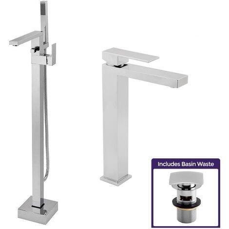 "main image of ""Eoro Cube Freestanding Bath Shower Mixer Tap, Tall Basin Mono Mixer & Waste Chrome"""
