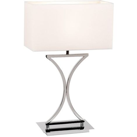 Epalle Steel Table Lamp Chrome Plate White Cotton Mix Square Shade