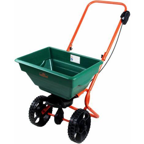 Deuba | Épandeur • 25L pour semence, engrais, sel et sable • avec roues | Jardin, gazon, extérieur