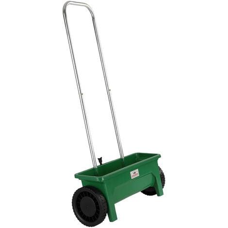Épandeur de jardin 12L semence engrais sable débit réglable 10 niveaux 2 roues