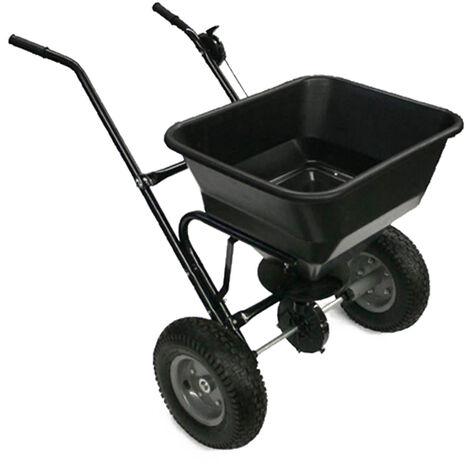 Epandeur d'engrais 30kg, semences, sable ou sel Wiltec avec pneus à air