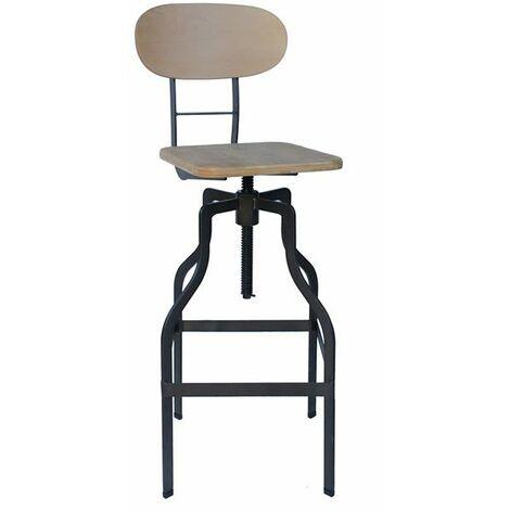 Epic Kitchen Bar Stool Retro Vintage Industrial Stool Natural Wood Seat Height Adjustable Seat