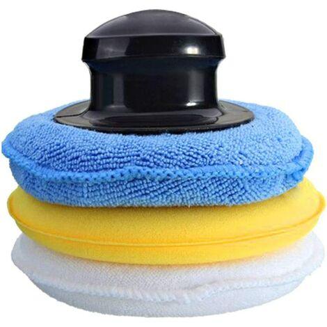 éponge de Polissage pour Voiture 3 pièces tampons applicateur de Cire Microfibre Voiture éponge Polonaise avec poignée applicateurs en Mousse de Cire pour Nettoyage des Voitures