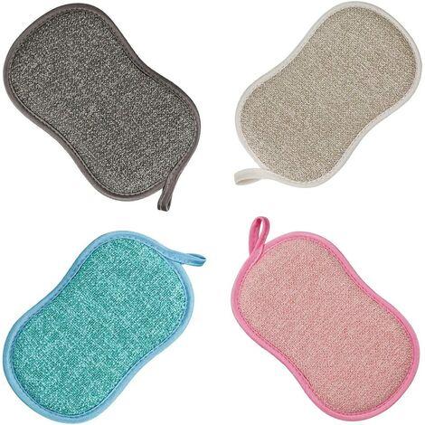 Eponge Vaisselle Lavable La Cuisine antibactérienne en Microfibre Reutilisable Tampons à récurer éponge Double Eponge pour Poêlons Antiadhésifs Poêles Pots (4pcs Eponge)