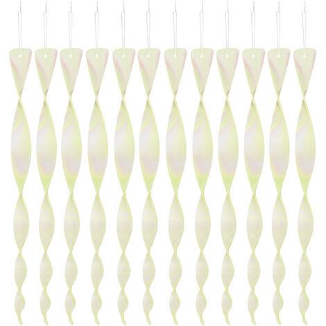 Epouvantail spirale, lot de 12, réflecteur, balcon & jardin, 30 cm, répulsif, transparent