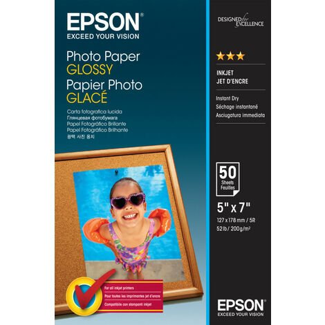 Epson Photo Paper Glossy - 13x18cm - 50 Feuilles - Gloss - 200 g/m² - 50 feuilles - - WorkForce WF-7610DWF - WorkForce WF-7110DTW - WorkForce WF-3620DWF - WorkForce WF-2010W -... - 130 mm - 180 mm (C13S042545)