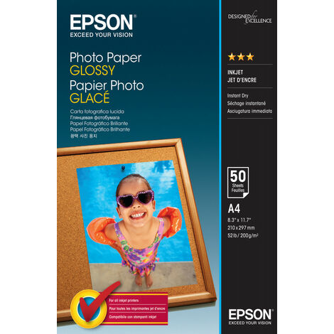 Epson Photo Paper Glossy - A4 - 50 Feuilles - Gloss - 200 g/m² - A4 - 50 feuilles - - WorkForce WF-7610DWF - WorkForce WF-7110DTW - WorkForce WF-3620DWF - WorkForce WF-2750DWF -... (C13S042539)