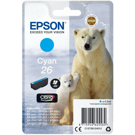 Epson Polar bear Cartouche Ours Polaire - Encre Claria Premium C - Original - Cyan - Epson - - Expression Premium XP-820 - Expression Premium XP-720 - Expression Premium XP-625 - Expression... - 1 pièce(s) - Impression à jet d'encre (C13T26124022)