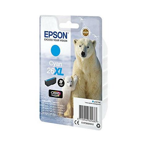 Epson Polar bear Cartouche Ours Polaire - Encre Claria Premium C (XL) - Original - Cyan - Epson - - Expression Premium XP-820 - Expression Premium XP-720 - Expression Premium XP-625 - Expression... - 1 pièce(s) - Impression à jet d'encre (C13T26324022)